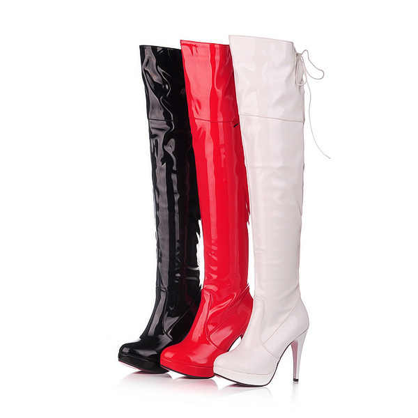الجلود واحدة أحذية Overknee للماء منصة عالية مع فارس الأحذية مثير الرقص أحذية الزفاف أحذية