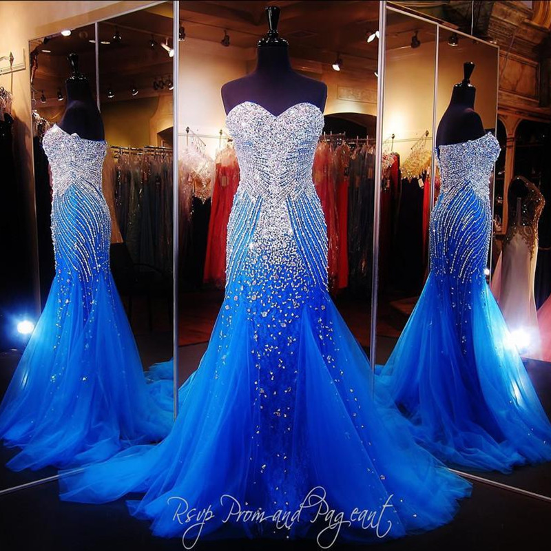 Long Mermaid Turquoise Prom Gown 2018 Beaded Crystal Tulle Sweetheart Backless Robe De Soiree Mother Of The Bride Dresses