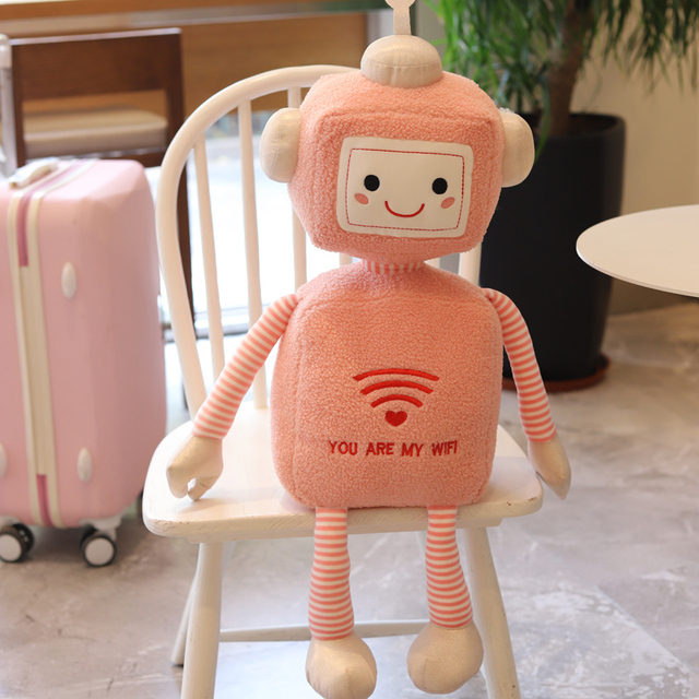 1pc 27/45/55CM Creative WIFI Robot Plush Toys Lovely Simulation Dolls Stuffed Soft Pillow for Children Baby Girls Birthday Gifts