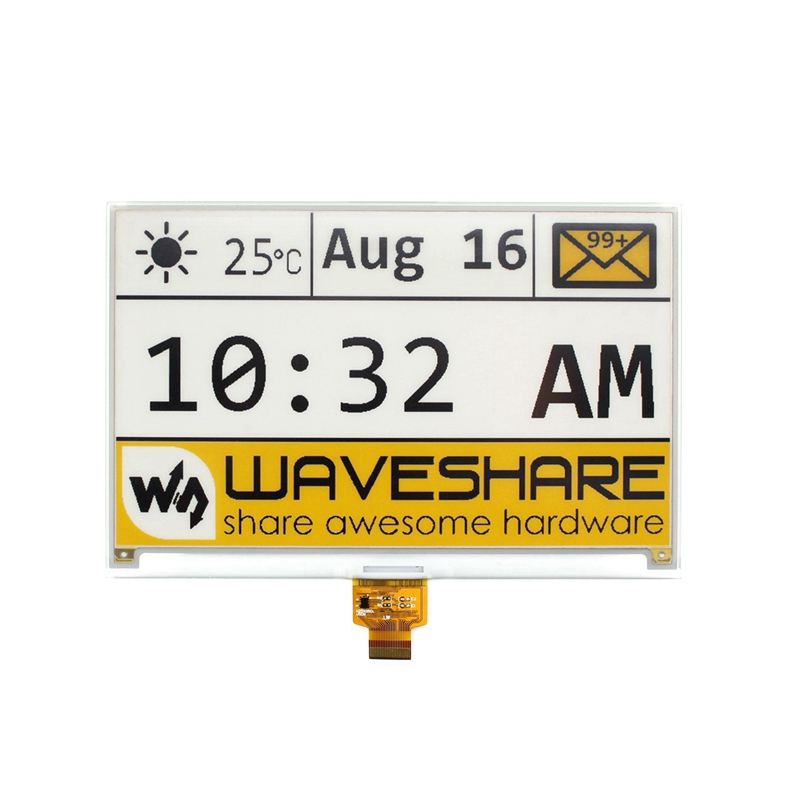 Waveshare 7.5Inch E-Ink Raw Display Panel No PCB,640X384 E-Paper,Three-Color:Yellow Black White SPI Interface,No Backlight