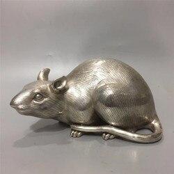 Chinesische Tibet Silber Kupfer Carving Sternzeichen Tier Maus Statue Geld Ratte Gute Luck Geomantie Hause Dekoration