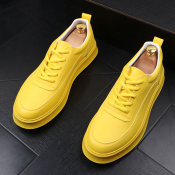 British style mens casual cow leather shoes yellow white flat shoe lace-up platform sneakers chaussure homme zapatos de hombre