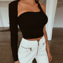 Goocheer cotton halter one shoulder sexy Tops women new fashion 2019 winter spring solid T-shirt casual long sleeve Slim t shirt