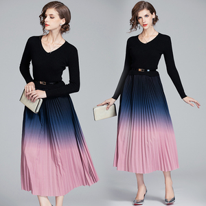 Spring Elegant Knitted Maxi Dress 2021 Women's Long Sleeve Patchwork V-neck Stitching Party Pleated Dress With Belt For Women