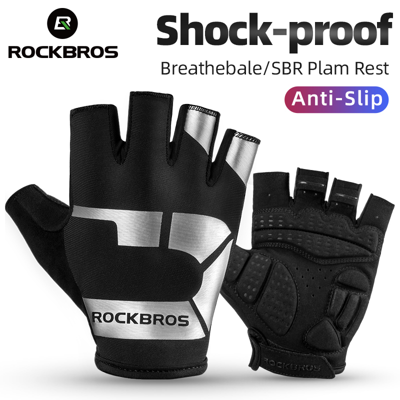 ROCKBROS Anti-SLIP ถุงมือ Shock Absorption Breathable จักรยานถุงมือแฟชั่นถุงมือกีฬากลางแจ้ง