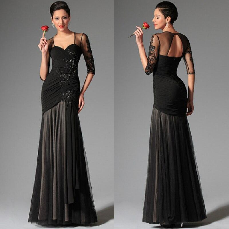 New Style Vestido De Noiva Party Gown 2018 Sexy Sweetheart Black Evening Half Sleeve Robe De Soiree