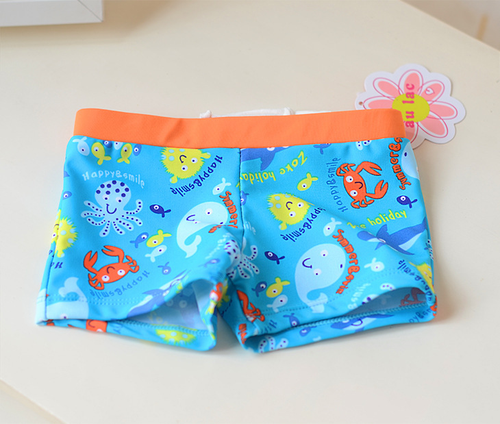 Orange Belt Blue Furry Ball Small Fish CHILDREN'S Swimming Trunks Cute Boy Infants Small Children Swimming AussieBum