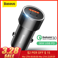 Baseus 36W Car Charger with PD Fast Charger For iPhone 11 Pro Max X Xs Max 8 Plus Quick Charge 3.0 USB Car Phone Charger|Car Chargers| |  -