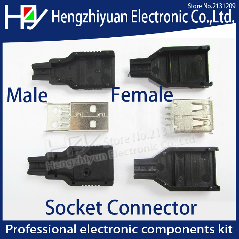 IMC hot New 10pcs Type A Male Female 2.0 USB 4 Pin Plug Socket Connector With Black Plastic Cover Solder type DIY