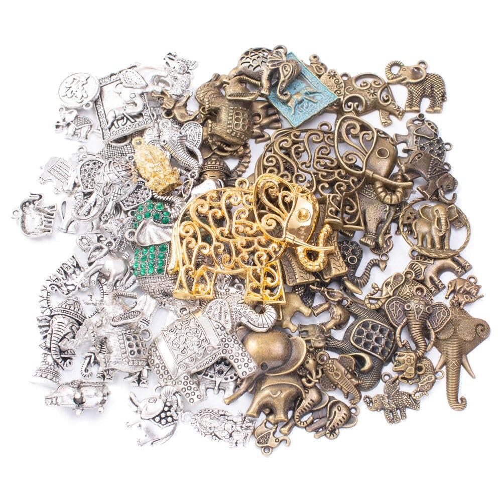 50g 100g Mixed Elephant Metal Charms Pendants Vintage Antique Bronze Silver Bracelets Necklace DIY Jewelry Making Components