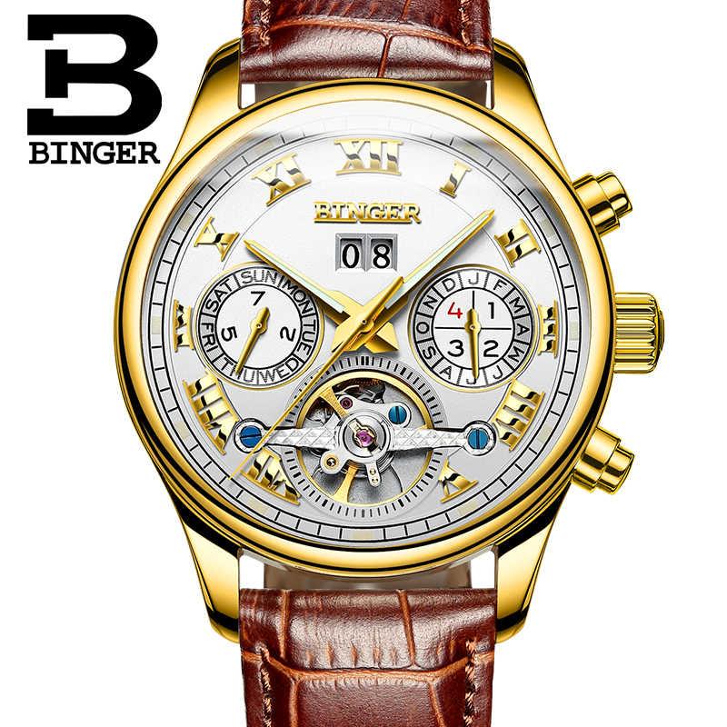 Suisse squelette automatique montres hommes mécanique montre BINGER luxe militaire cuir horloge relogio masculino étanche