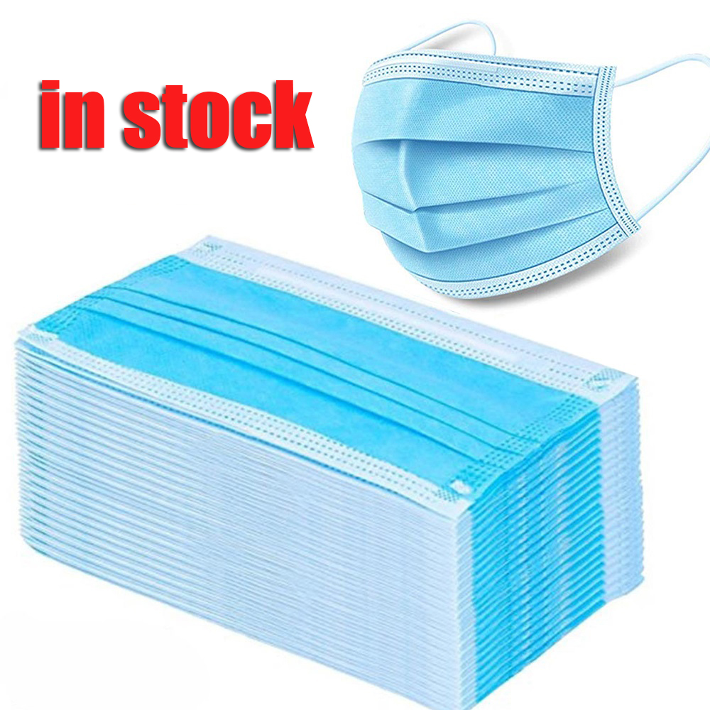 100 Pcs 3 Layer Disposable Mask Anti Dust Mouth-muffle Face Masks Men Women Anti Fog Face Mouth Masks Breathable Mouth Cover