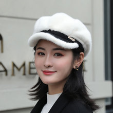 Wool Beret Octagonal-Cap French-Hat Warm Rabbit Girl British Winter Women Visor for Keeps