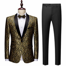 Floral Jacquard Men Suits for Club Prom 2 piece Slim fit Wedding Tuxedo Man Fashion Clothes Set Blazer with Pants In stock(China)