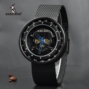 Image 5 - Promosyon BOBOBIRD İzle şık ahşap Chronograph saatler ahşap kuvars kol saati en iyi hediye kutusu relogio masculino VQ18