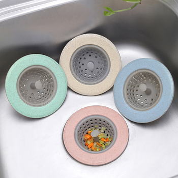 Silicone Wheat Straw Kitchen Filter Strainer Bathroom Shower Drain Sink Drains Cover Sewer Hair Filter 4 Colors new hot flower shaped silicone tpr kitchen sink strainer bathroom shower drain sink drains cover sink colander sewer hair filter