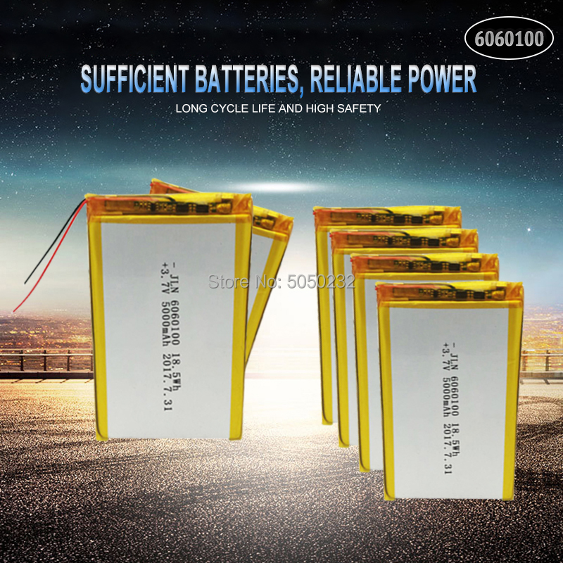 10pc <font><b>5000mAh</b></font> <font><b>3.7V</b></font> 6060100 Polymer Lithium <font><b>LiPo</b></font> Rechargeable <font><b>Battery</b></font> For GPS PSP DVD PAD Tachograph power bank Speaker image