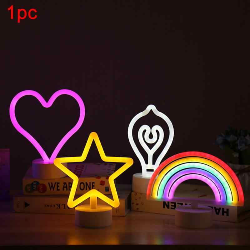 Battery Powered Christmas Led Night Light Party Gift Decoration Bedroom With Pedestal Wedding Heart  Neon Signs Star Shape Desk