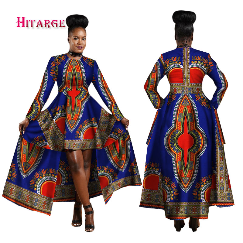 Hitarget 2020 African Dresses For Women Dashiki Cotton Wax Print Batik Sexy Long Dress For Femal Traditional Clothing WY1268