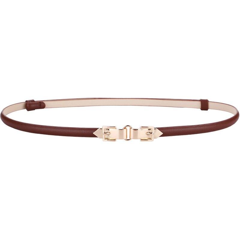 Women Belts New Design Thin Adjust Cummerbund HOT Genuine Leather Waistbands Dress Fashion Gold Pin Buckle Solid Color Waistband