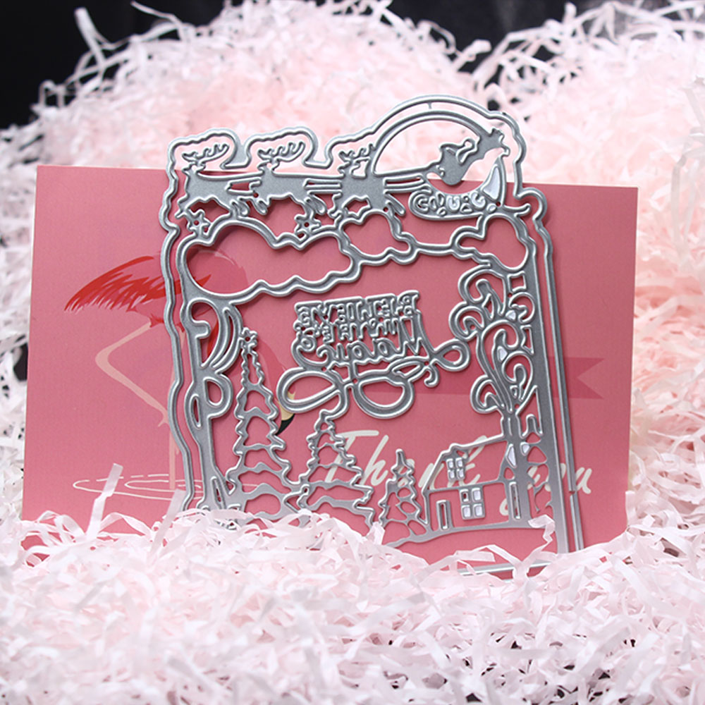 <font><b>Merry</b></font> <font><b>Christmas</b></font> Metal <font><b>cut</b></font> <font><b>dies</b></font> embossing flower stencils for DIY Scrapbooking decorative photo album marking DIY templates image
