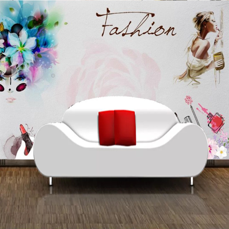 3D Cool Fashion Beauty Creative Industrial-Style Hand-Painted Wallpaper Mural Cosmetics Manicure Beauty Shop Background Wallpape