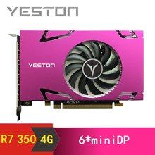 Yeston Radeon R7 350 4GB GDDR5 128bit Unterstützt 6 bildschirme Gaming Desktop computer PC 4K unterstützung 6 * computer-tv-anschlusskabel minidp Video Graphics Karten