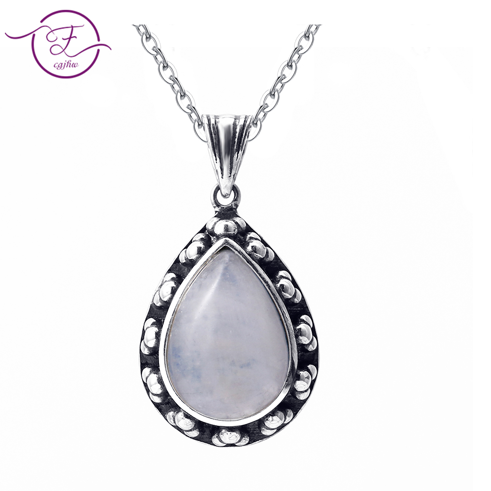 2019 New Listing S925 Sterling Silver Pendant Necklace Large Pear Shape 10 * 14 Moon Stone Retro Necklace Engagement Party