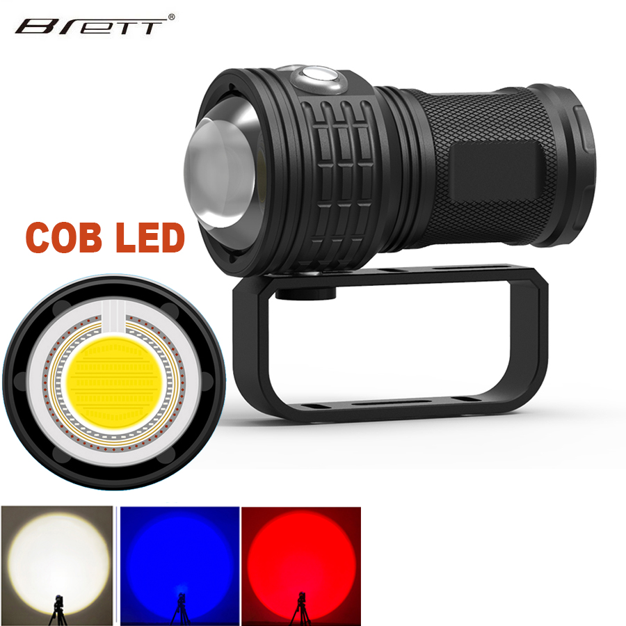 LED Diving Flashlight Underwater 80M COB 11000LM Photography Tactical Camera Video Flashlight Blue+white+red LED Lanterna Torch