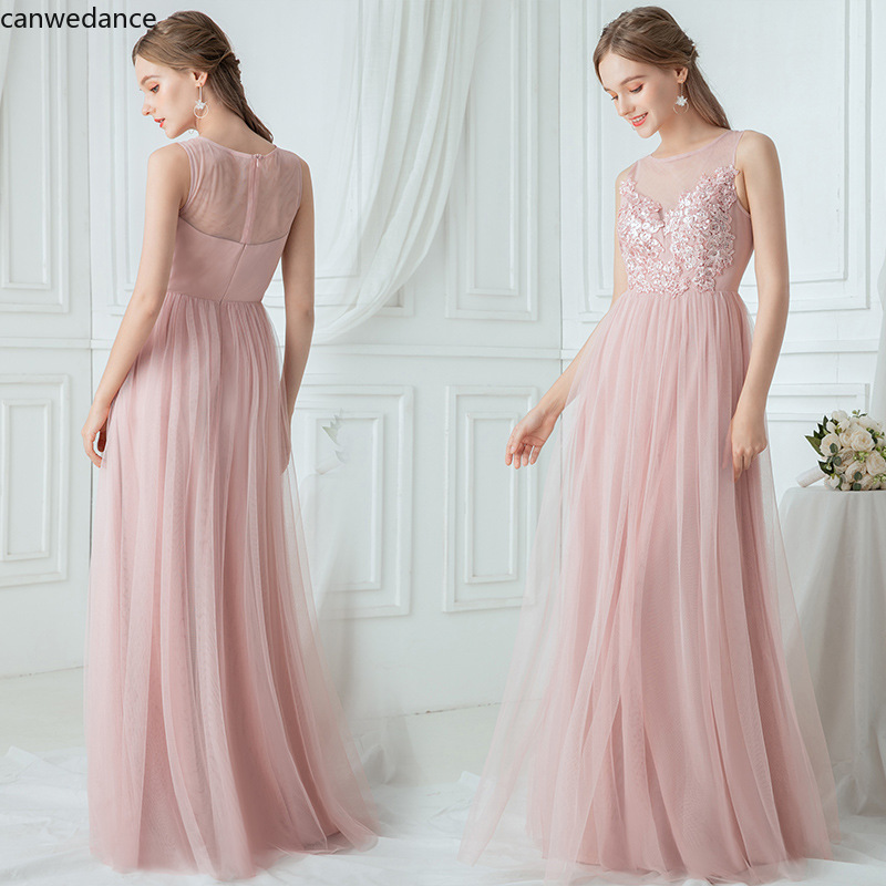 2020Shining Sequin Bridesmaid Dresses Appliques A Line Wedding Party Prom Gowns Sleeveless Floor Length Elegant Women Dress