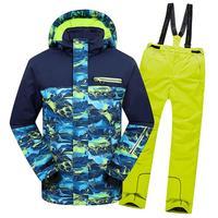 Children Skiing Suits Windproof Waterproof SkiJacket Boys Bib Pants Thermal Kids Ski Suits Winter Outdoor Hooded Set