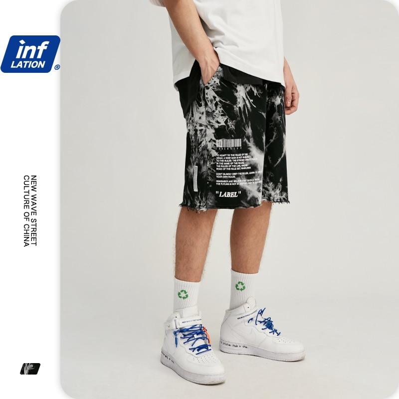 INFLATION Men Elastic Waist Shorts Tie Dye Men Compression Shorts Loose Fit Men Harem Pants Cotton Men Summer Shorter Shorts