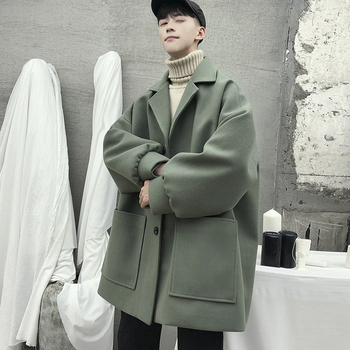 Autumn Winter Men's Loose Wool Blends Overcoat England Style Casual Coat Lapel Mens Coat Solid 5 Colors Warm K07 бампер dongfeng k17 k07 k07 page 5