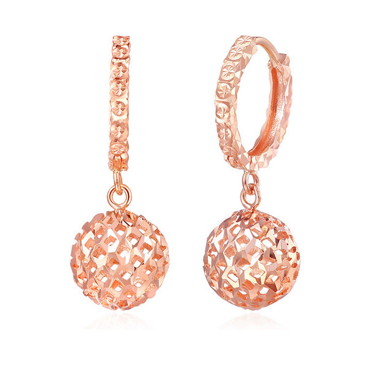 Glitzy Hollow Ball Diamond Carve 18k Real True Solid Gold Hoop
