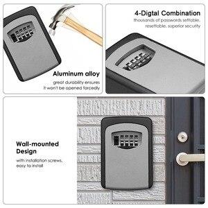 Image 2 - ウォールマウントキー金庫アルミ合金キー収納ボックス 4 桁コンビネーションパスワードボックス屋内屋外での使用