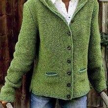 Women Sweaters Autumn Open Stitch Fleece Hooded Button Up Soft Jacket Long Sleev