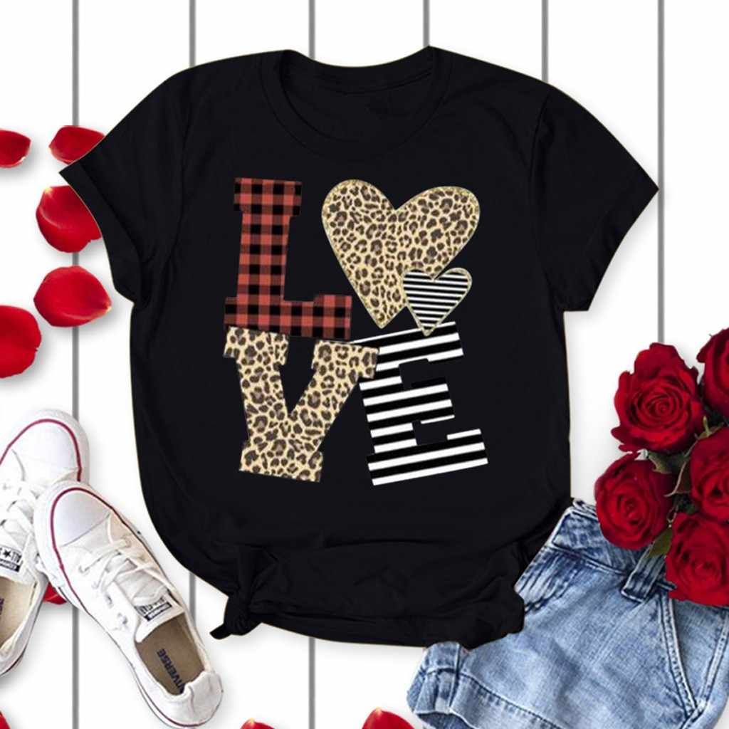 Giorno di san valentino Camicia Dei Vestiti di Estate Delle Donne Più Il Formato il Giorno di san valentino Amore di Stampa Manica Corta Magliette e camicette T-Shirt Tee Femme # p30