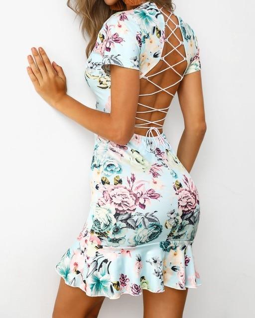 Echoine Summer Sexy V-neck Lace Up Backless Floral Print Mini Dress Party Night Club Elegant Beach Dresses Ruffle Vestidos 5