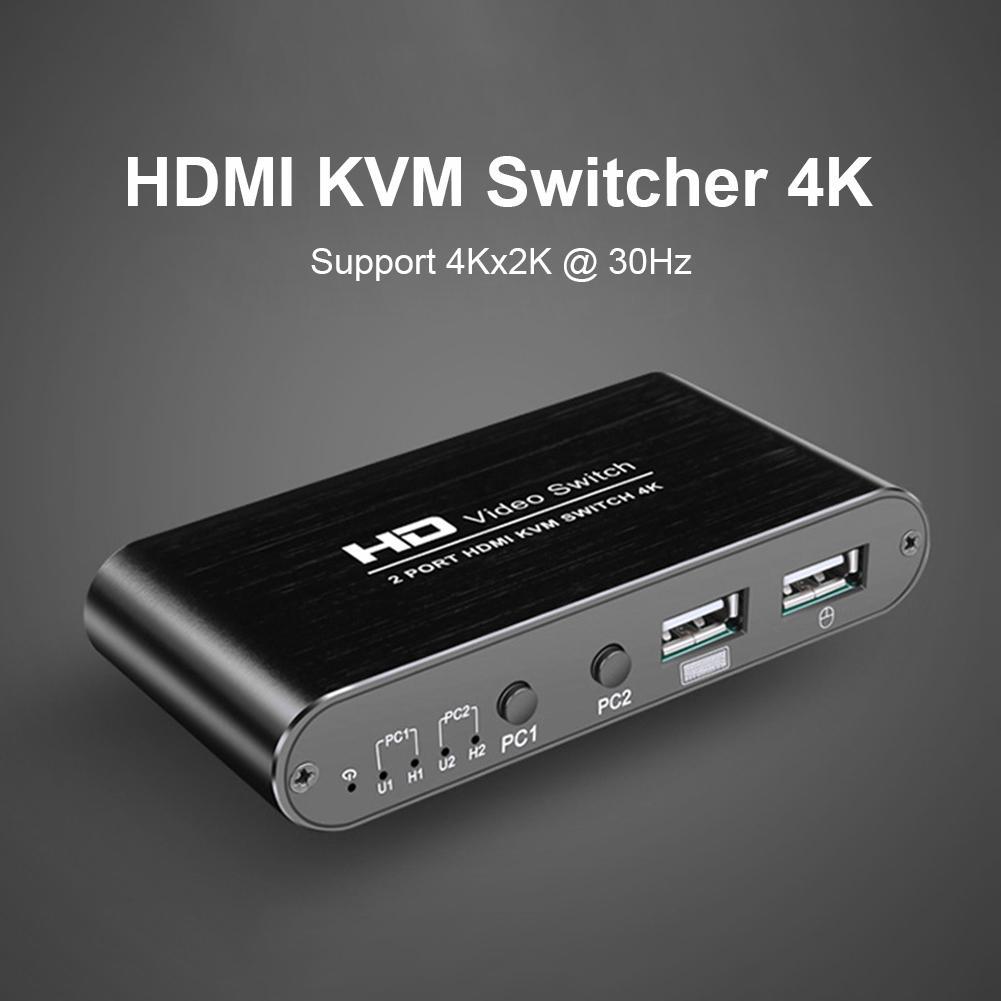 HDMI KVM Switch Box 2 Port 4K Video Display HDMI Switch KVM Switcher Splitter Box For 2 PC Sharing Printer Keyboard Mouse KVM