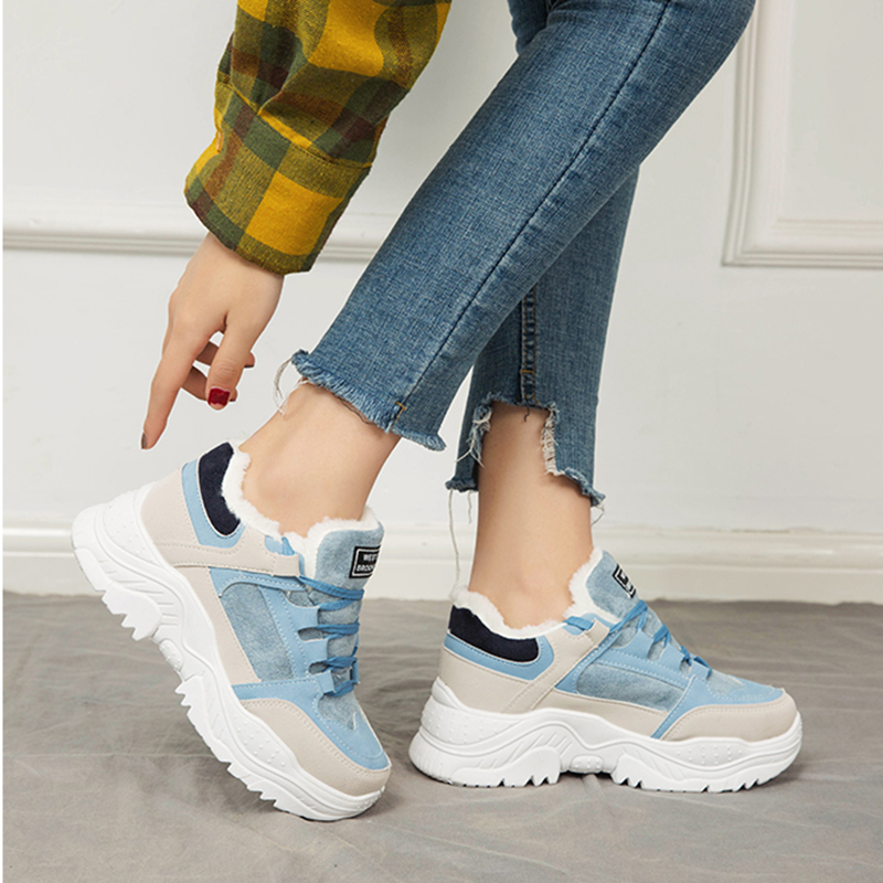 Image 3 - SWYIVY Platform Sneakers Women Shoes Winter Warm Flock Women Sneakers 2019 Casual Shoes Woman Med Heel Ladies Shoe BreathableWomens Vulcanize Shoes   -