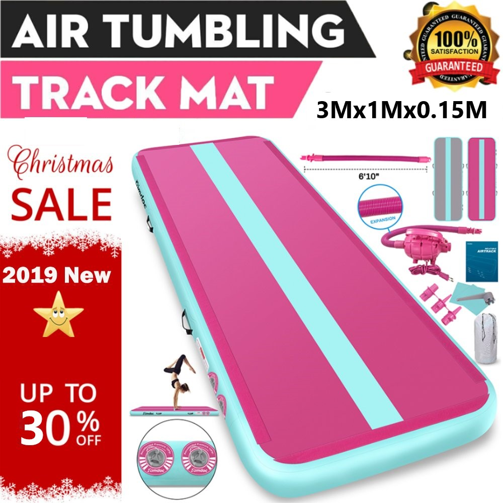 Rimdoc 3M Gym Mat Yoga Mat Inflatable Air Track Air Gym Inflatable Gymnastics Mat Yoga/Training/Cheerleading Airtrack For Home