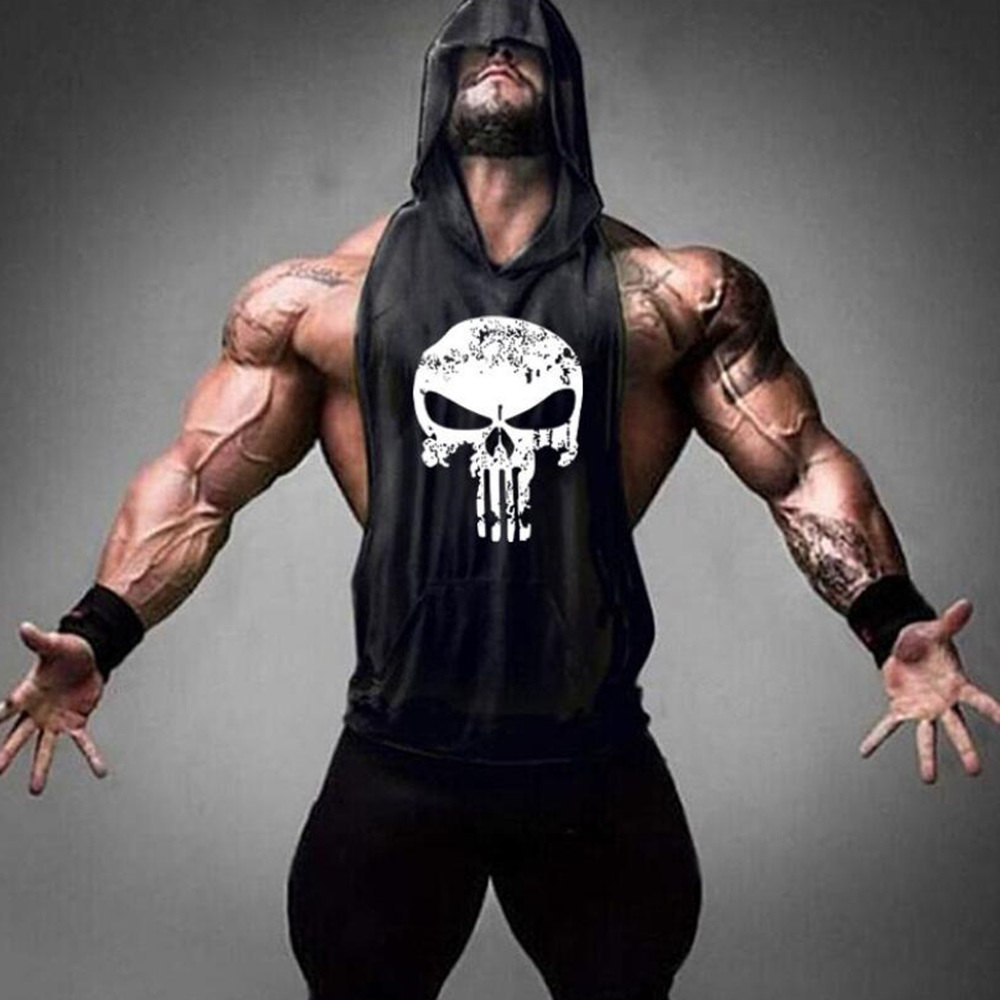 Men Bodybuilding Cotton Tank Tops Gyms Fitness Hooded Vest Sleeveless Shirt Male Summer Casual Fashion Print Workout Clothes