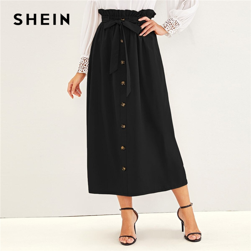 SHEIN Paperbag Waist Button Front Casual Skirt With Belt Women Bottoms 2019 Autumn High Waist Solid Long Skirts For Ladies