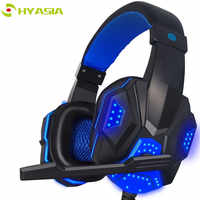 HYASIA LED Light Headset Bass Gaming Headphones Wire Game USB 3.5mm Suitable for PS4 Computer Game With Mic Gaming Earphone PC