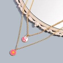 Collier Boho avec pendentif en alliage Yin Yang rose pour femmes, chaîne de clavicule multicouche à fleurs à la mode, nouveau Design de bijoux