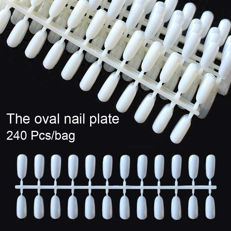240 шт. белые прозрачные черные накладные ногти во французском стиле полное покрытие съемные эллиптические карты маникюрные поддельные УФ-гель для дизайна ногтей инструмент