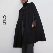 Autumn black Cloak Trench Coat women long sleeve Poncho Coat winter Elegant loose Cape Outwears