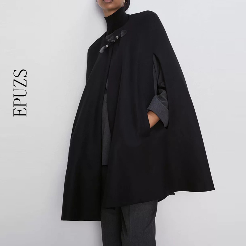 Autumn black Cloak   Trench   Coat women long sleeve Poncho Coat winter Elegant loose Cape Outwears 2019