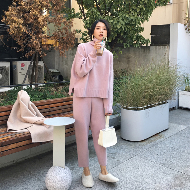 OLOME Spring Summer Knitted Tracksuit Turtleneck Sweatshirts Women Suit Clothing 2 Piece Set Knit Pant Female Pants Suit D226