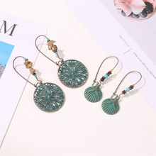 Bronze Metal Exaggerated Carved Earrings Ethnic Style Fashion Bohemian Retro Green Plant Elements Ancient